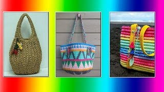 Модели вязания Вязаные сумочки из лентовидной пряжи(crochet)