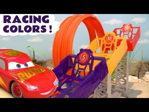 Disney Pixar Cars McQueen and Hot Wheels Superheroes Learn Colors Racing Competition