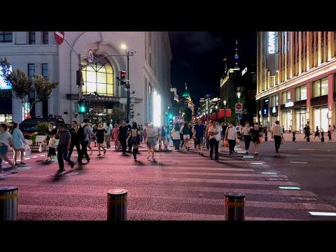 Jing an Mall|Foot Street|4K Shanghai Tour|Night walk|Jinxian Road