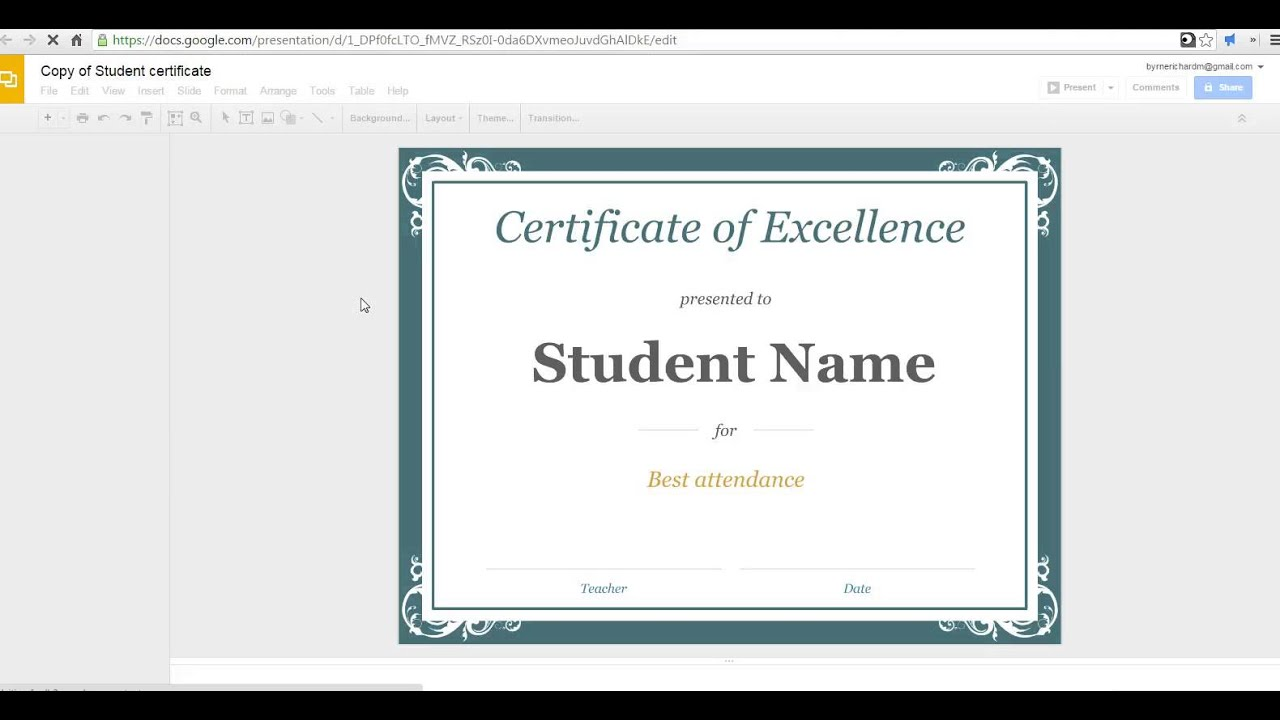 Google Doc Award Template How To Create A Certificate In Slides Youtube