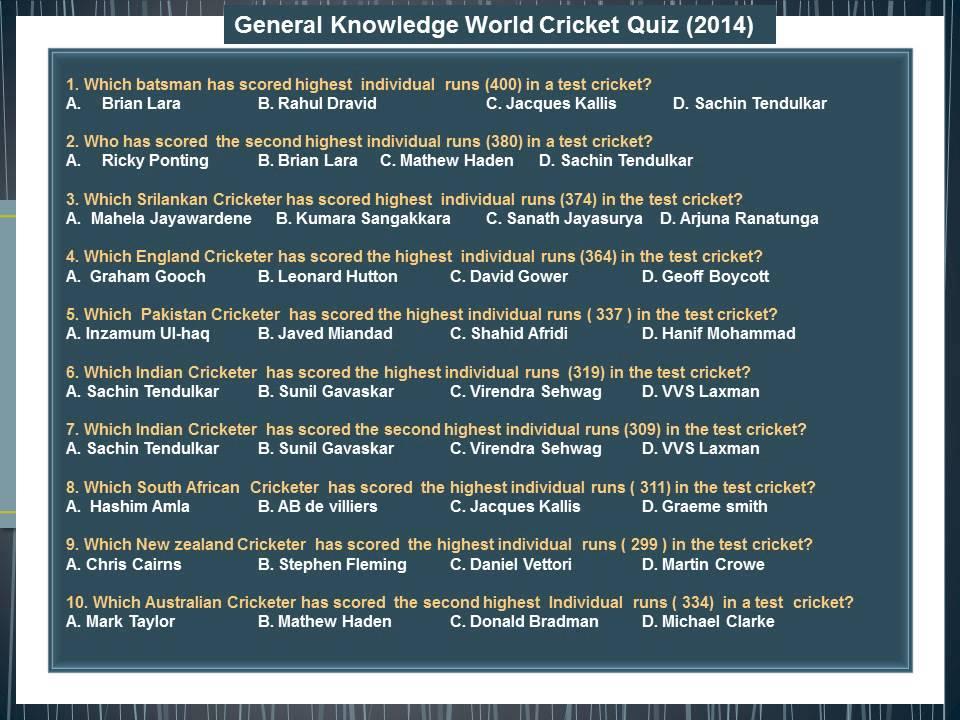 General Knowledge World Cricket Quiz 2