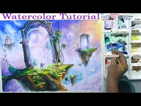 fantasy world landscape  watercolor painting Tutorial  By Nihar Debnath