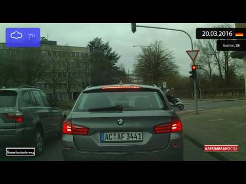 Driving through Aachen (Germany) from Walheim to Drielandenpunt 20.03.2016 Timelapse x4