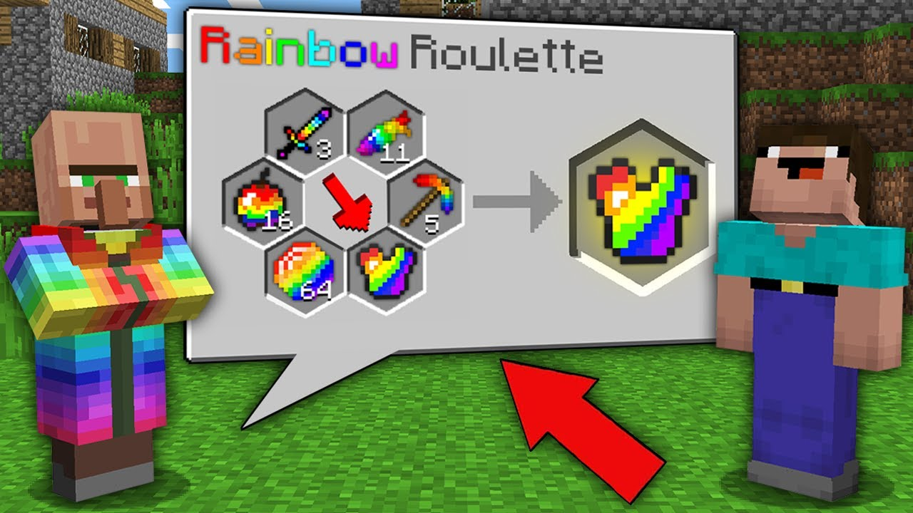 Minecraft NOOB vs PRO: WHAT SUPER RAINBOW ITEM WILL WIN NOOB AT VILLAGER ROULETTE? 100% trolling