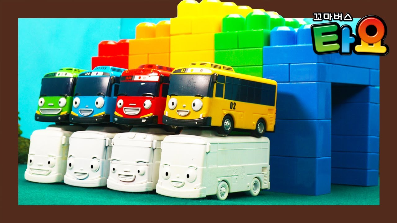 Learn colors with Heavy Vehicles | Rainbow bridge l Heavy Vehicles Lego Play l Tayo the Little Bus