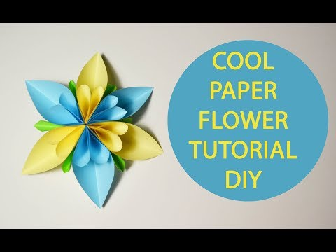 Cool Paper Flower Origami Tutorial DIY Decoration blue yellow craft