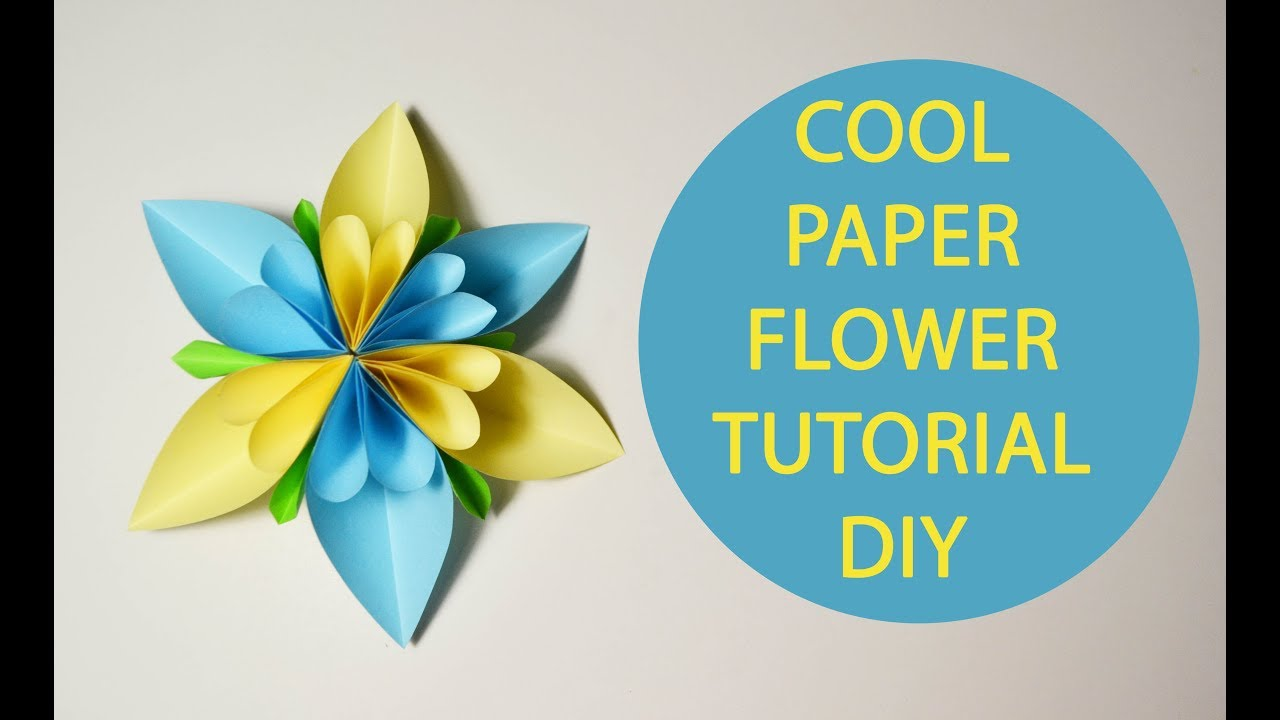 Cool paper flower origami tutorial diy decoration blue yellow craft cool paper flower origami tutorial diy decoration blue yellow craft mightylinksfo