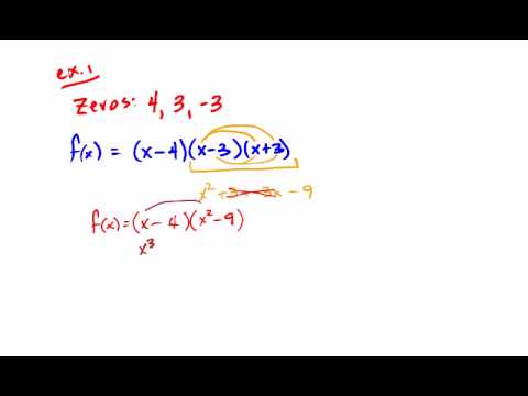 Writing Polynomial Functions Given The Zeros Youtube