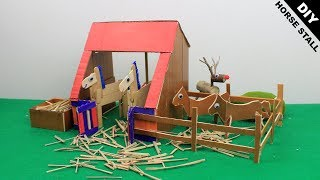 DIY Horse Stable Toy #3 & Popsicle Stick Horse Stall | Easy Craft Ideas