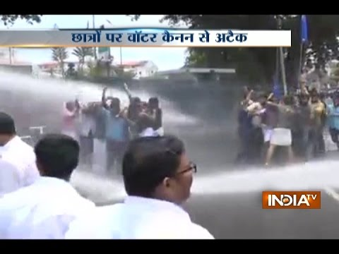 Water Cannon Shot Over Protesting Students In Kerala