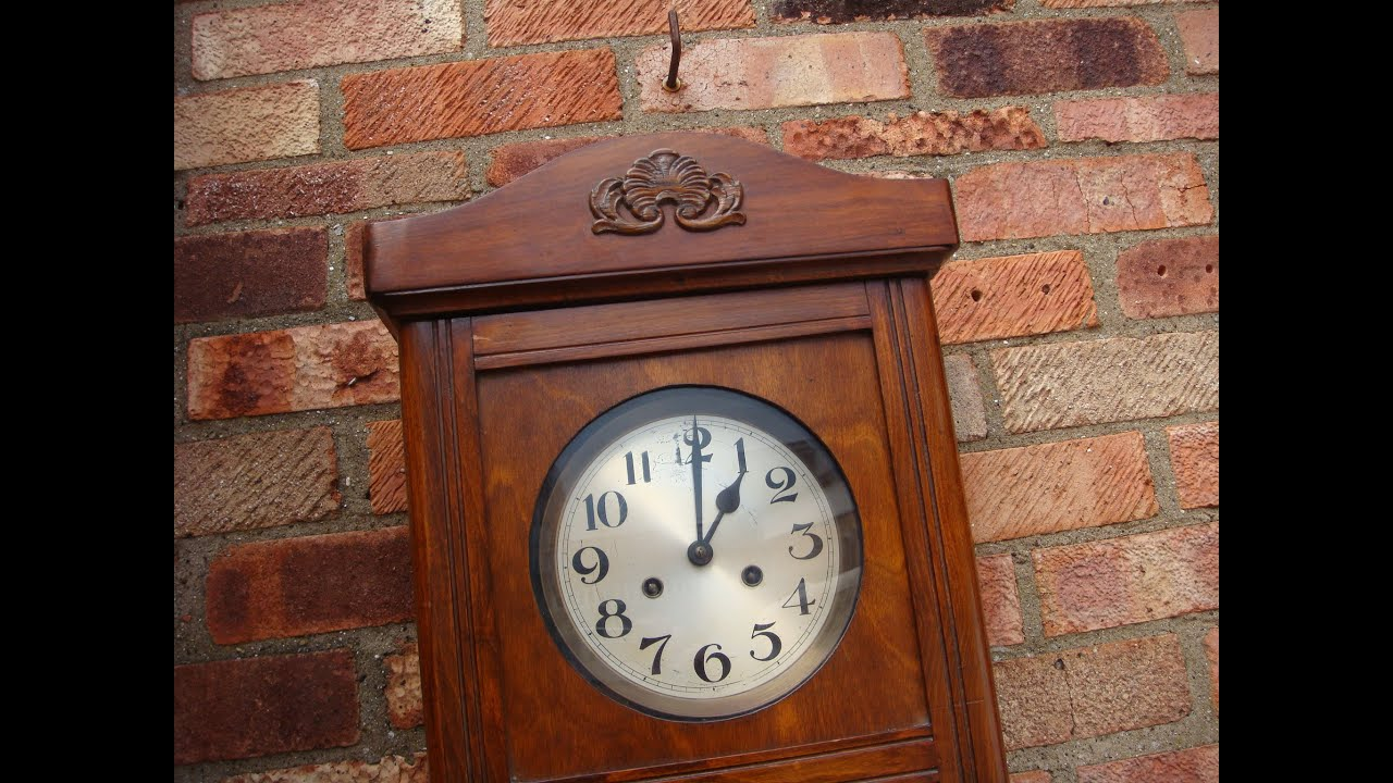 Antique old vintage wall clock with key pendulum see video youtube antique old vintage wall clock with key pendulum see video amipublicfo Images
