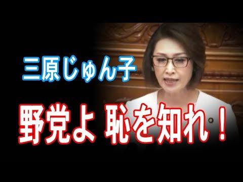 三原じゅん子、反対討論で旧民主ら野党を猛批判「恥を知りなさい」