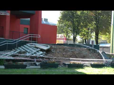 Обрушение лестницы и подпорной стены в Молодечно 27.09.2015 г.
