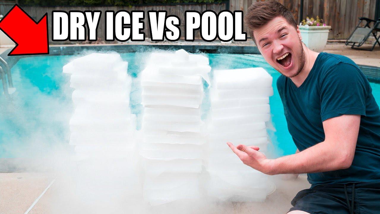 1 500 Pounds Of Dry Ice Vs Pool Challenge Funnydog Tv