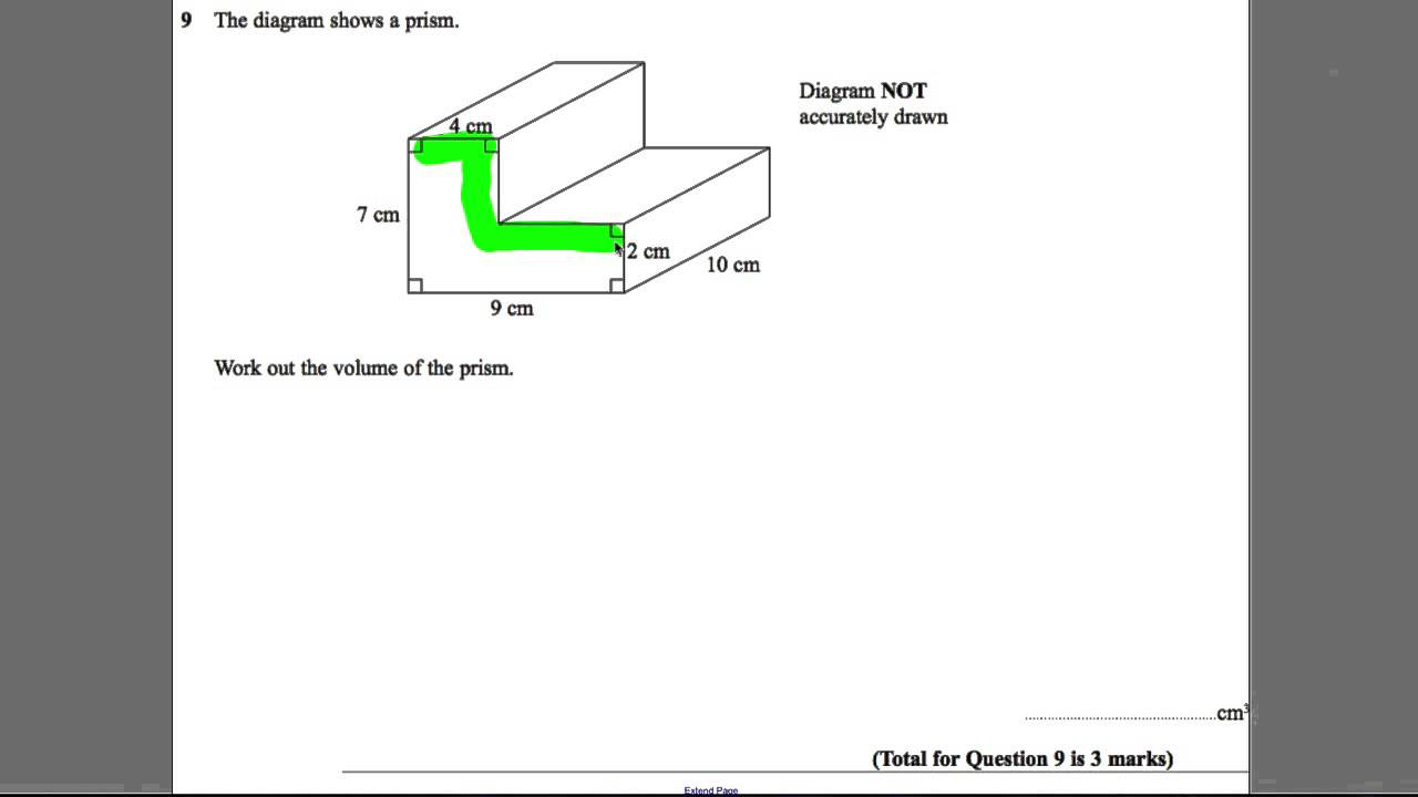 Gcse Revision Video 12 Volume Of A Prism Youtube