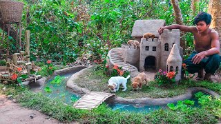Building Dog Castle For Rescued Puppies Use Waste Bamboo As A Waterwheel For Puppy & Fish Pond