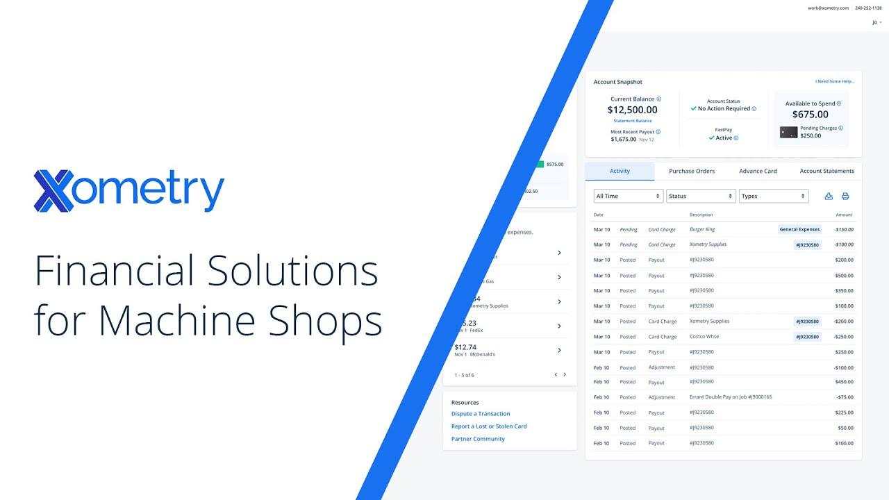 Xometry Shop Finances Overview