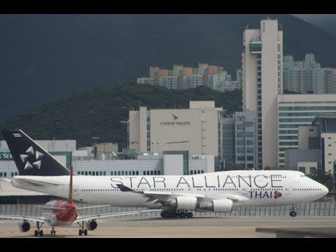 Plane Spotting Hong Kong International Airport GE90-115B engine star and Takeoff & Landing