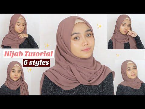 6 Hijab Segi Empat Pashmina Simple Cantik | Tutorial Hijab. . . . . . . . . . . . #hijabsimple ....