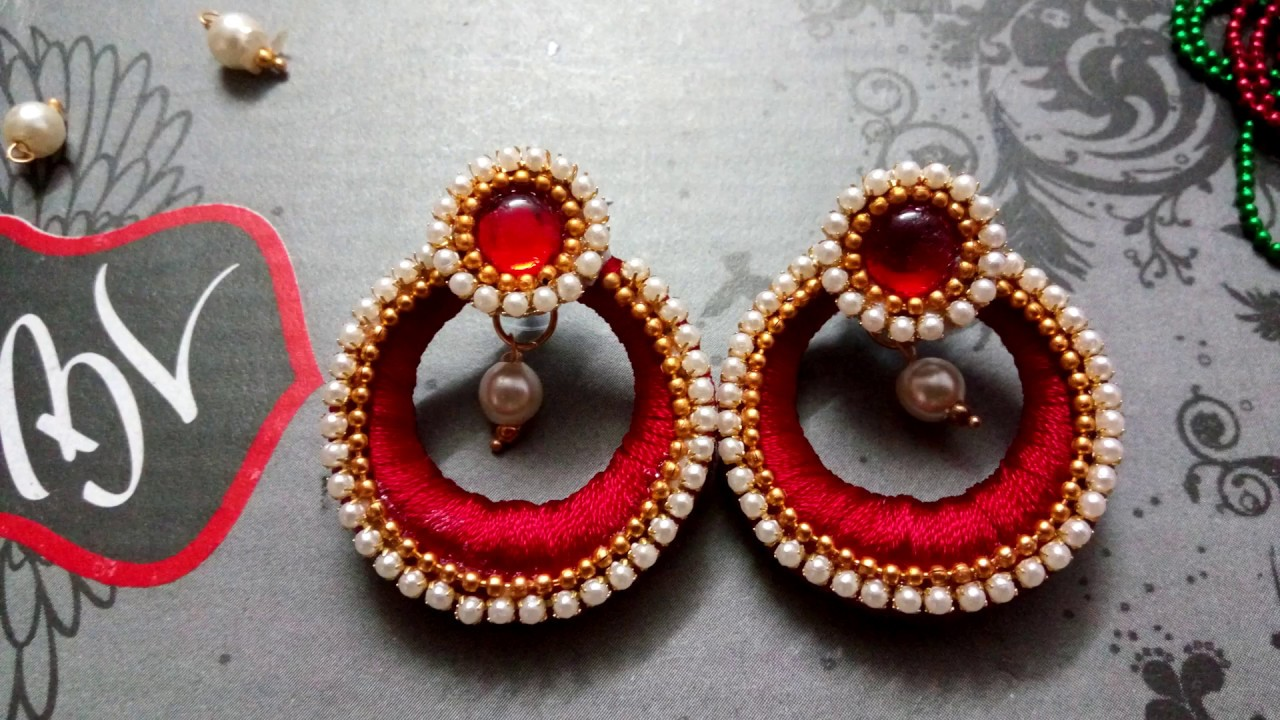 Handmade Silk Thread Earrings And Bangles Designs
