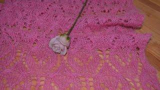 Вяжем. Палантин нежная роза ч 2
