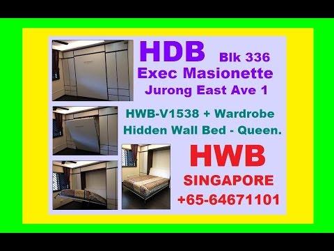 HWB-Queen HDB Exec Masionette JurongEst-336 +Wardrobe+Storage-GuestRm.HiddenWallBed-EC.DBSS.BTO