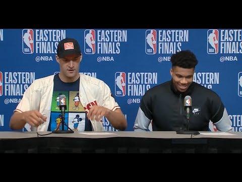 Giannis Antetokounmpo & Brook Lopez Postgame Press Conference | Raptors vs Bucks Game 1