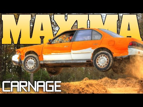 MAXIMA CARNAGE: beater car Pond Jump, backyard dirt racing 2015