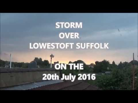 Storm over Lowestoft, Suffolk, England weather on the 20th of july 2016 (4x speed)