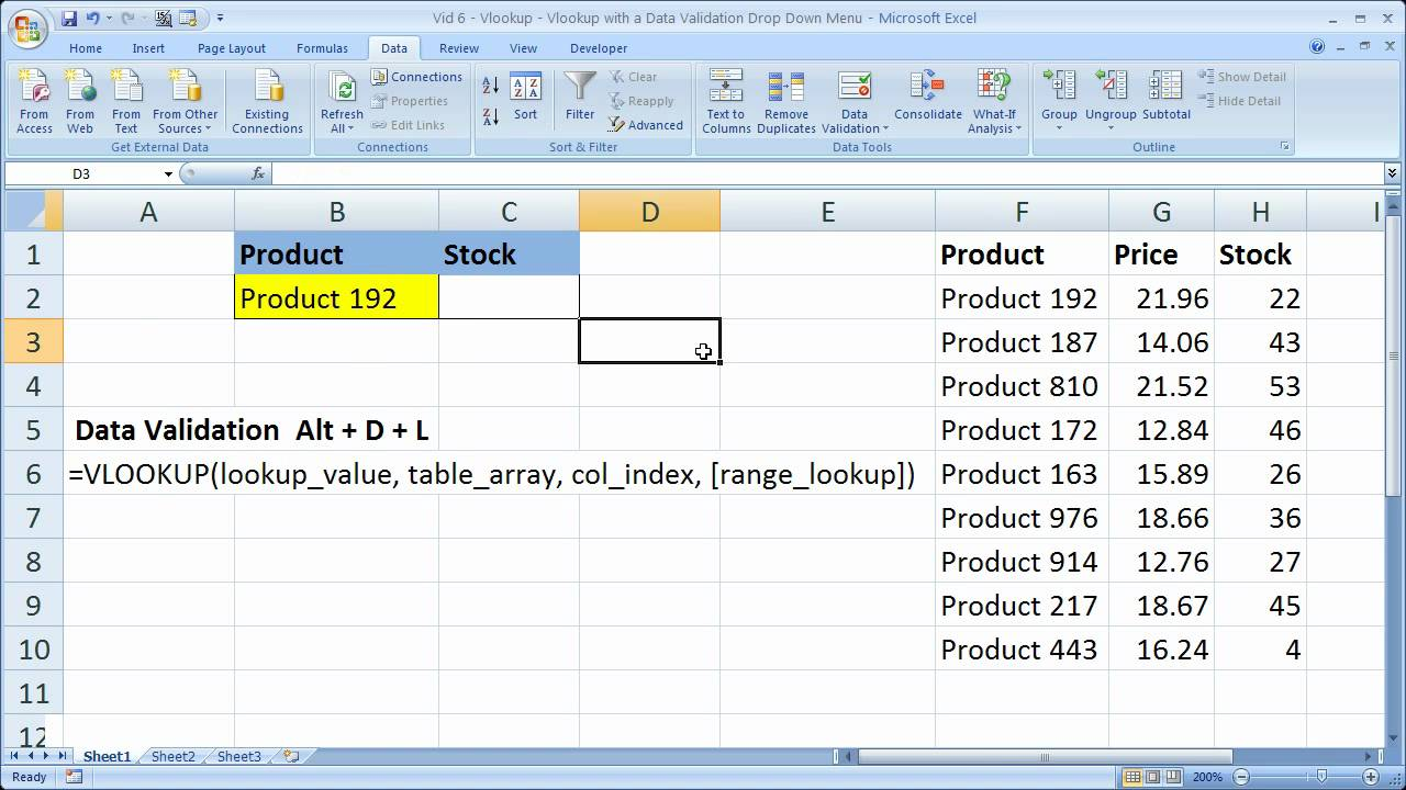 excel lookup search tip 6 vlookup with a drop down menu and data validation youtube [ 1280 x 720 Pixel ]
