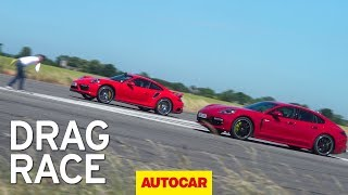 Фото с обложки Drag Race: Porsche Panamera Turbo S Vs Porsche 911 Turbo S | Autocar