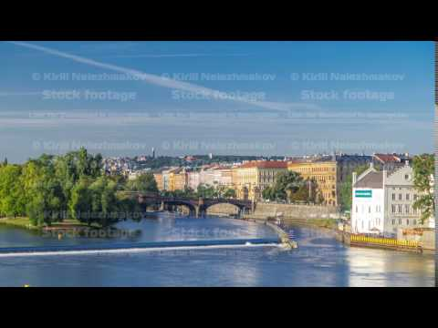 Vltava river timelapse in district Strelecky ostrov with the bridge of the Legions, Prague, Czech
