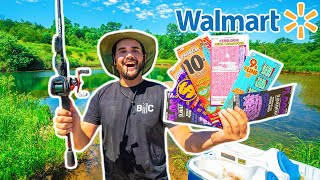 Walmart LOTTERY TICKET Fishing Challenge in My Backyard Pond!!! (I WON)