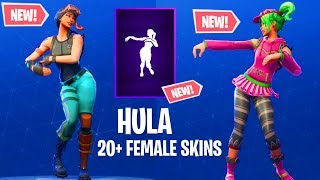 FORTNITE NEW HULA DANCE EMOTE SHOWCASED ON 20+ FEMALE SKINS