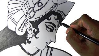 How to draw lord Krishna the eighth incarnation of Lord Vishnu in Hinduism from India.