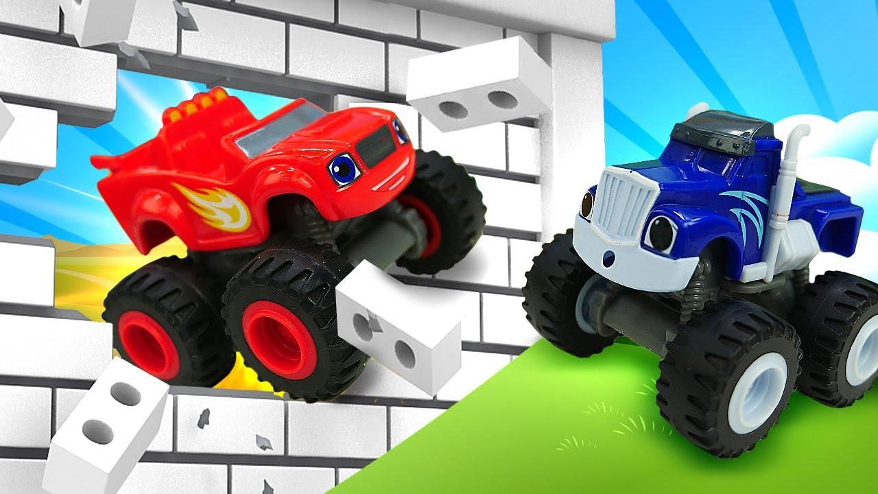 Blaze y Crusher rescatan al autobús escolar de juguete. Historias de juguete Monster Machine