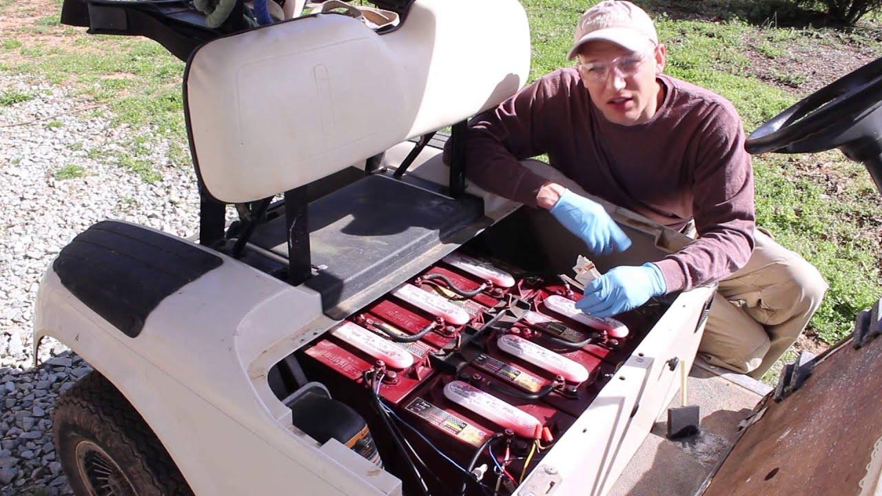 Golf Cart maintenance battery fill test wash EZGo review  YouTube