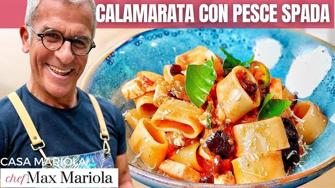 CALAMARATA CON PESCE SPADA MELANZANE E OLIVE TAGGIASCHE  #ricetta #facile