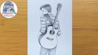 how to draw a boy with guitar for beginners || pencil sketch || Boy Drawing || Erkek nasıl çizilir