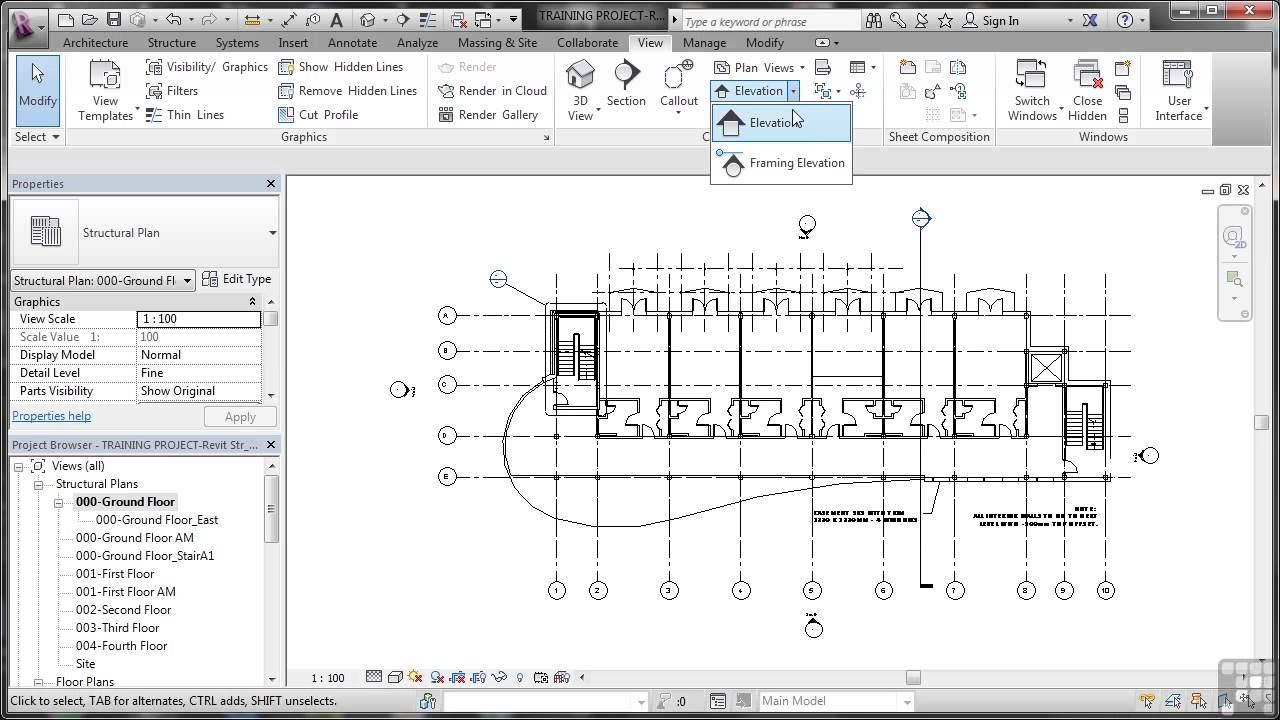 Create Elevation Plan In Revit : Revit structure tutorial creating elevations youtube