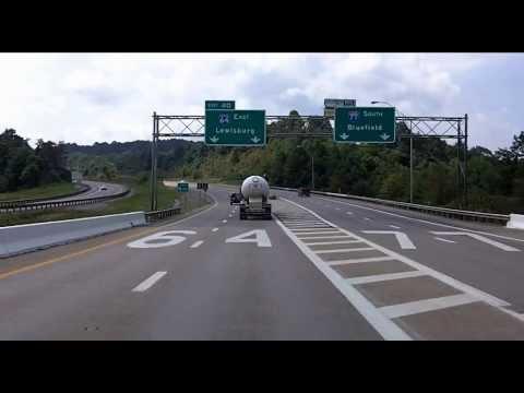 Interstate 77 South / Interstate 64 East Split in West Virginia