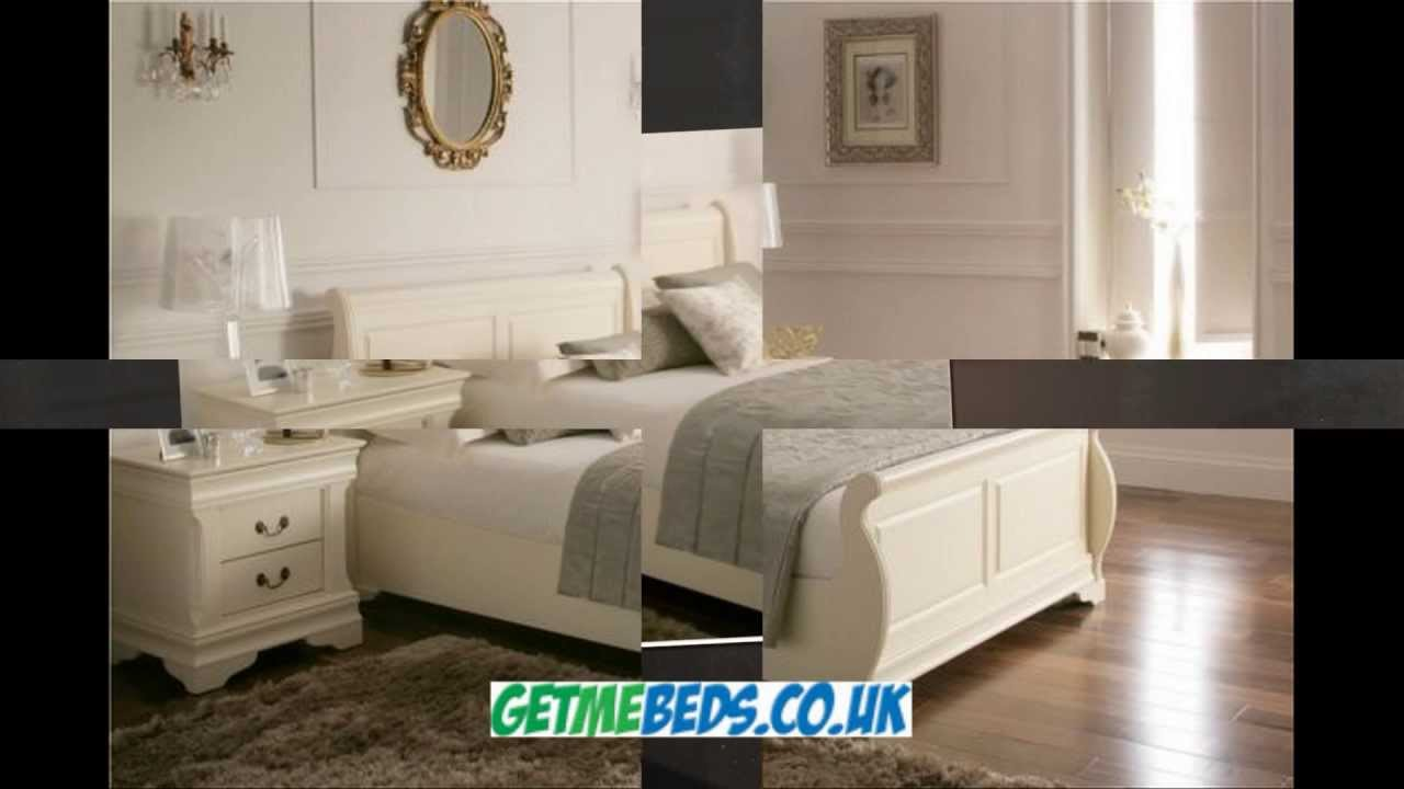 Louie Cream Wooden Sleigh Bed YouTube