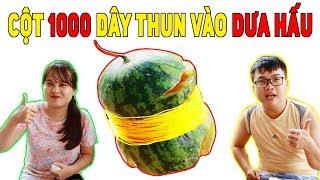 BUI VLOGS | Thử Buộc 1000 Dây Chun Vào Quả Dưa Hấu Và Cái Kết Họa Mi Ngừng Hót - Watermelon