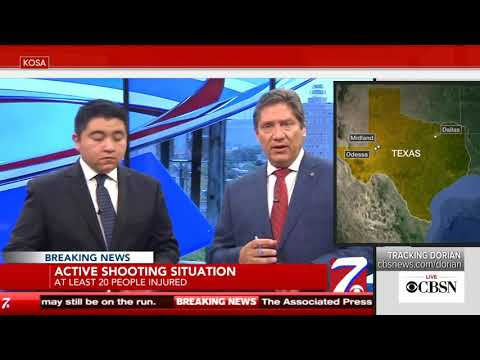 Texas shooting: Watch as Odessa TV news station forced to