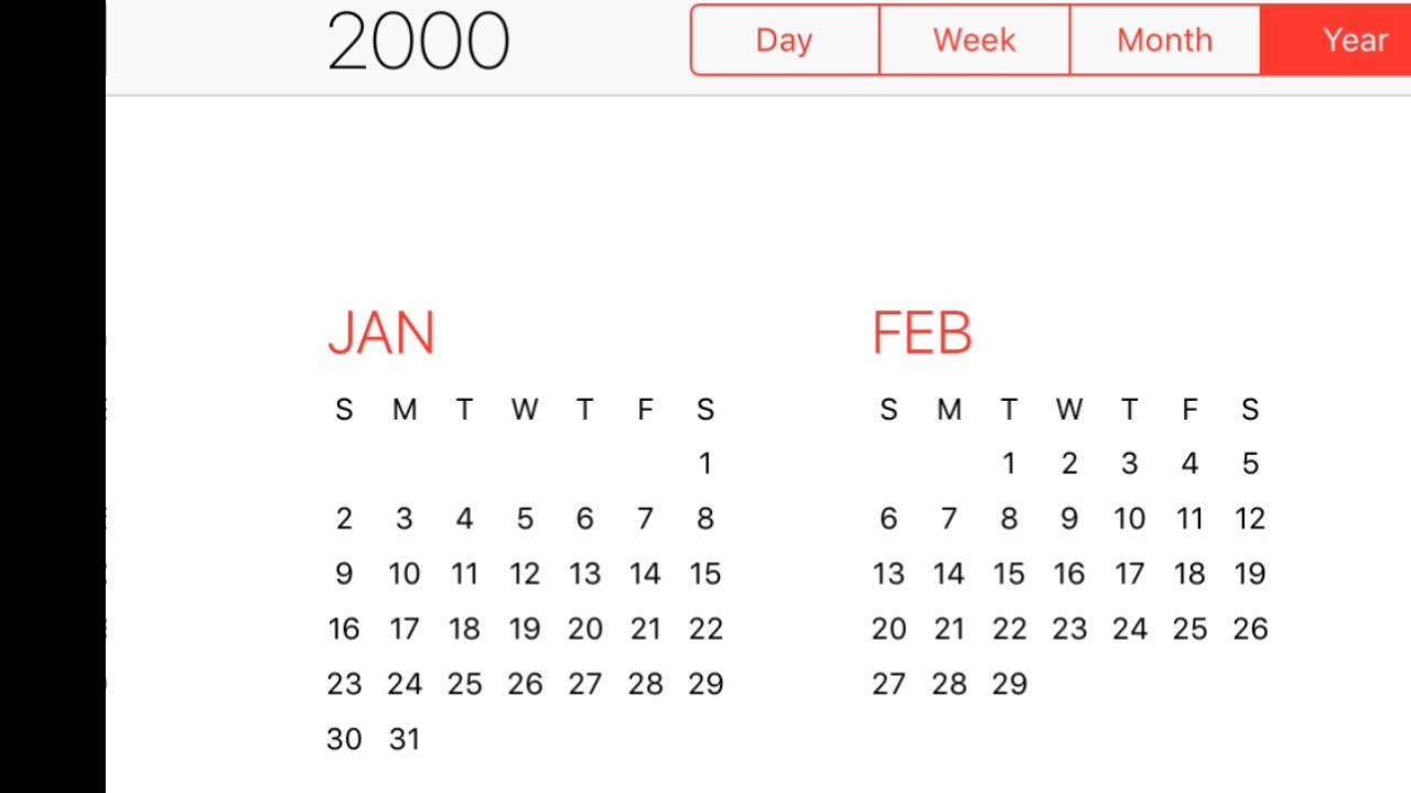 2000 Calendar Youtube