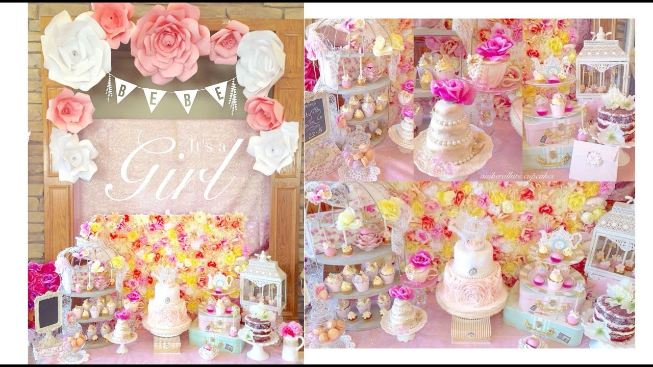 Vintage Tea Party Baby Shower | Dessert Table | Amberallure   YouTube