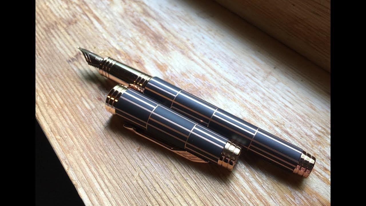 Перьевая ручка с золотым пером Platinum Century PNB-10000 - YouTube