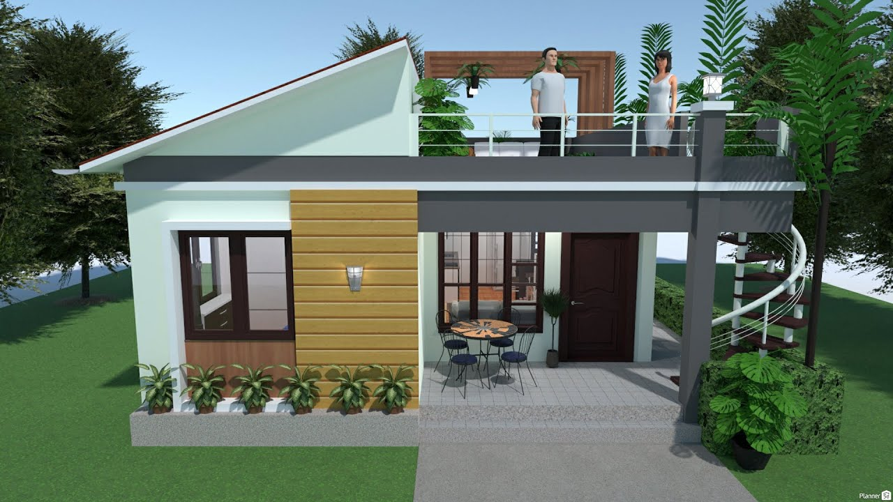 Planner 5D Build:Small House Design with Roof Deck Garden ...
