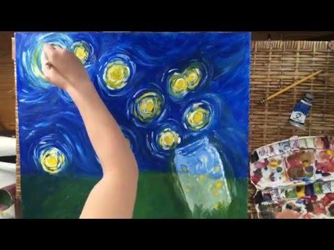 TimeLapse oil painting Fireflies