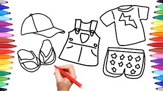 How to Draw Colour Summer Clothes for Girls | Coloring Book Kids Clothes | Learning for Kids